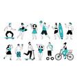 summer activities characters city walk life vector image vector image