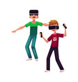 two boys wearing virtual reality headsets vector image