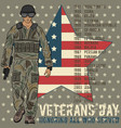 veterans day greeting card template vector image