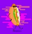 walking hot dog vector image vector image
