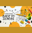 welcome back to school web banner doodle vector image vector image
