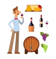 Wine production set vector image vector image