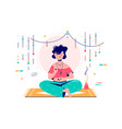 woman at meditation session vector image