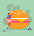 woman characters with fastfood huge burger vector image