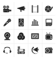 Black Audio and video icons vector image