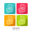 line art baby car seat icon set in four color vector image