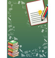 Border design with books and school objects vector image