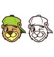 cartoon bear with baseball cap vector image