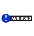abridged advertising sticker vector image vector image