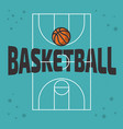 basketball themed design with basketball court an vector image vector image
