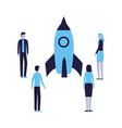 businesspeople with rocket vector image