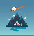 camping tent with landscape at night vector image vector image