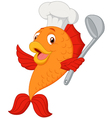 Cartoon chef fish holding soup ladle vector image vector image