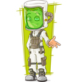 Cartoon scientist in protective mask vector image vector image