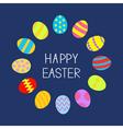 colored easter egg set round frame on blue back vector image