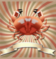crab realistic background and silver ribbon vector image vector image