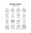 delivery linear icons set thin line contour vector image