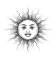 esoteric emblem sun drawn in vintage engraving vector image