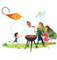 family picnic at backyard celebration poster vector image vector image