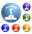 first podium place icons set vector image vector image