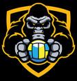 gorilla volleyball mascot vector image vector image