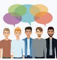 group men communication dialog bubble speech vector image vector image