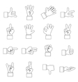 Hand gesture icons set outline ctyle vector image