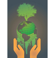 hand holding globe vector image vector image