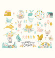 happy easter set cute vector image vector image
