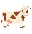 happy spotted cow farm animal character vector image vector image