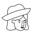 head of woman with hat avatar character vector image