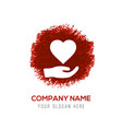heart in hand icon - red watercolor circle splash vector image