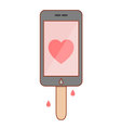 Isolated cartoon smartphone popsicle vector image