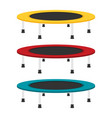 jumping trampoline flat set vector image