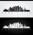 kuwait city skyline and landmarks silhouette vector image vector image