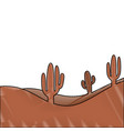 landscape desert with cactus plant sand vector image vector image