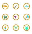 life of fisherman icon set cartoon style vector image vector image
