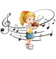 little girl plays violin vector image vector image