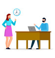 man and woman working together at office daytime vector image vector image