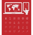 map line thin icons with laptop and smartphone vector image