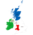 Map of the united kingdom and ireland vector | Price: 1 Credit (USD $1)