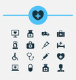 medicine icons set collection of drug nanny vector image vector image