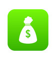 money bag icon digital green vector image