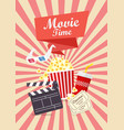 movie time poster design vector image vector image