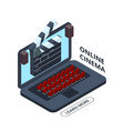 online cinema isometric icon home cinema vector image vector image