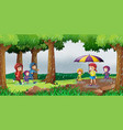 park scene with children in the rain vector image vector image