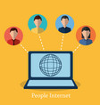 people internet laptop world globe connected vector image
