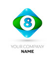 realistic number eight in colorful rhombus vector image vector image