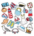 Sea Vacation Woman Fashion Stickers Patches vector image vector image