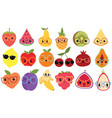 set cartoon fruits with glasses collection of vector image
